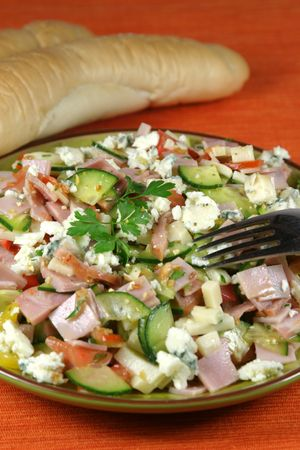 Vegetable and ham salad with ham, edam cheese and blue vein cheese photo