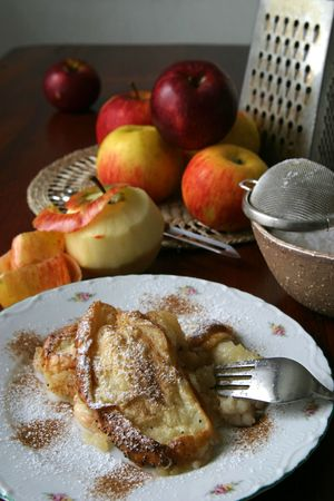 Apple bread pudding - a popular low-cost Czech meal Stock Photo - 5973633