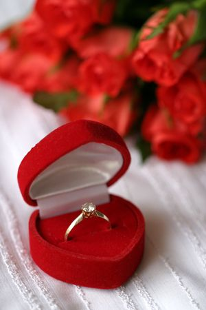 Golden engagement ring Stock Photo - 5973626