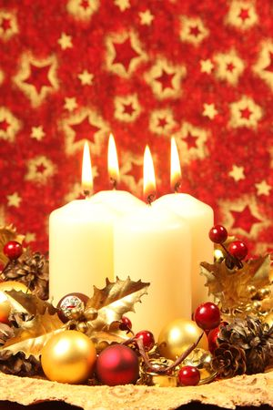 Christmas decoration with candles, copy space photo