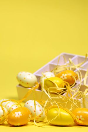 Yellow Easter eggs with a box. Shallow dof, copy space photo