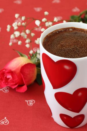 decaffeinated: Coffee with hearts and rose