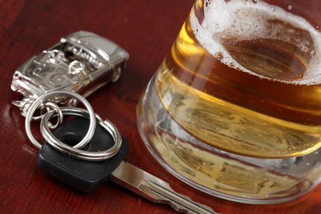 Car key and a glass of beer Stock Photo - 6379423