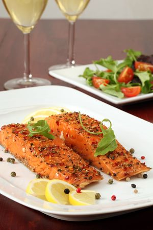 smoked: Smoked salmon with pepper crust Stock Photo