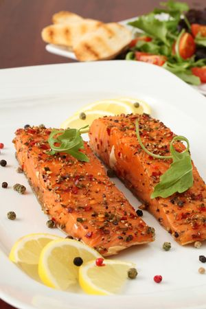 Smoked salmon with pepper crust photo