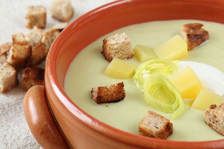 Leek and potato soup photo