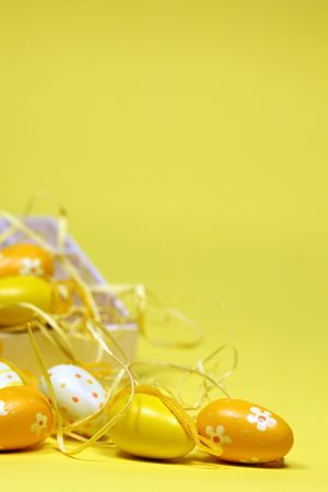 Yellow Easter eggs with a box. Copy space photo