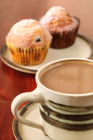 Coffee or hot chocolate and muffins photo