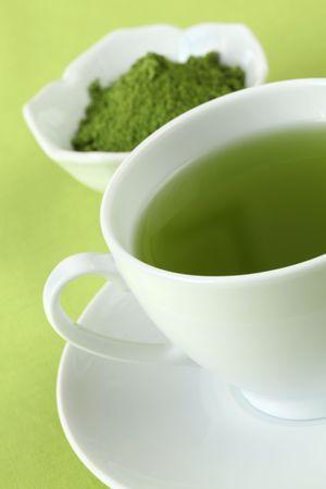 Japanese Matcha green tea and tea powder Stock Photo