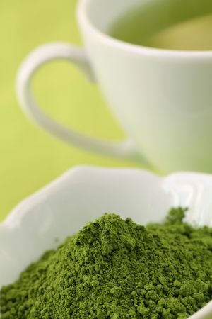 Japanese Matcha green tea powder and green tea