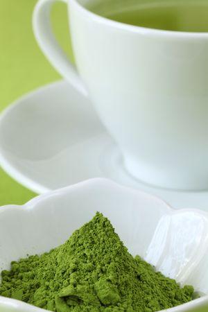 healthy tea: Japanese Matcha green tea powder and green tea