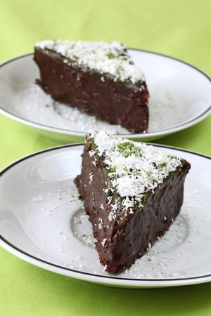 Chocolate cake with coconut and Matcha green tea powder Stock Photo - 6595113