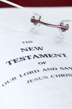 Close up of the New Testament. Shallow DOF, selective focus. Stock Photo