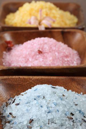 Bath salt in wooden bowls photo