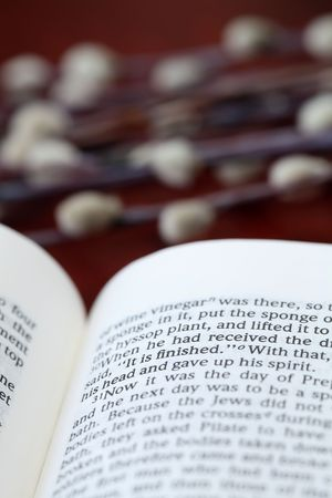 Open Bible with selective focus on the text in John 19:30 with Jesus' last words on the cross: It is finished. Stock Photo - 6660375