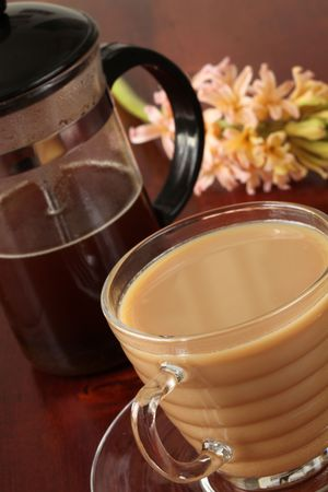 White coffee and french press photo