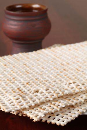 jewish cuisine: Passover - matzo and wine Stock Photo