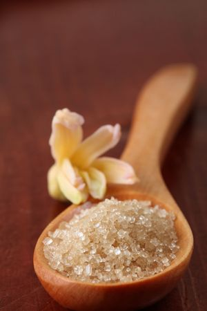 canes: Zucchero di canna in un cucchiaio di legno  Archivio Fotografico