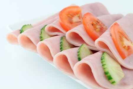 deli meat: Ham and vegetables