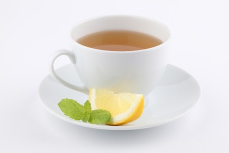 Mint tea with lemon photo