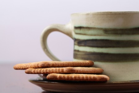 Biscuits and coffee or tea photo