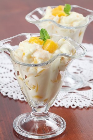 parfait: Yogurt dessert with peaches and mint Stock Photo