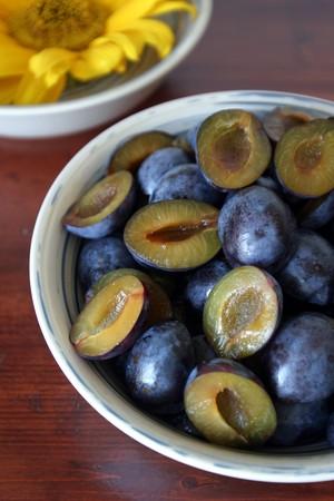 halved: Halved plums