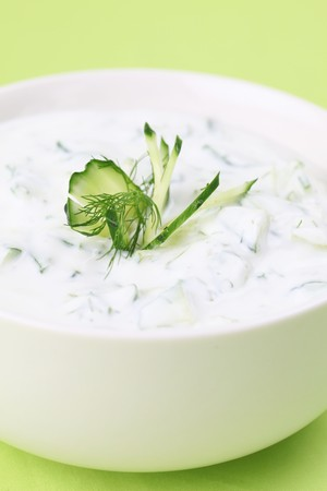 tzatziki: Tzatziki - Greek yogurt sauce with cucumbers, dill and garlic, known as tarator or snezhanka in Bulgaria or zaziki in Turkey. Shallow DOF