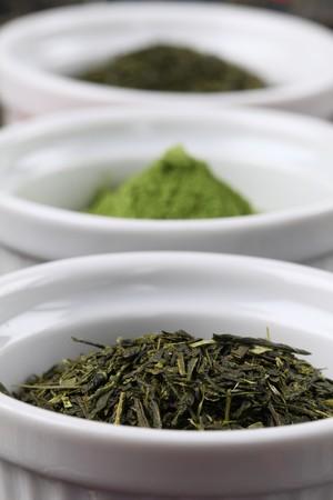 Tea collection -bancha and sencha green tea and matcha green tea powder photo