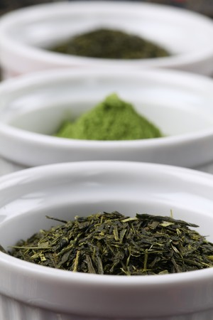 dried herb: Tea collection -bancha and sencha green tea and matcha green tea powder Stock Photo