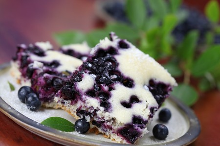 Blueberry sponge cake. Shallow DOF