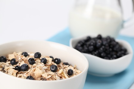 Granola with fresh wild blueberries and milk. Shallow DOF photo