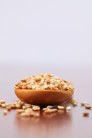 roasted sesame: Roasted sesame seeds on a wooden spoon Stock Photo