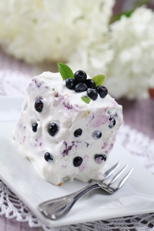 Blueberry cake with sour cream. Shallow DOF Stock Photo - 7535239
