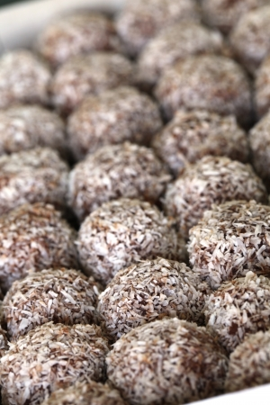 Rum balls - Traditional Czech unbaked Christmas and wedding cookies.   photo