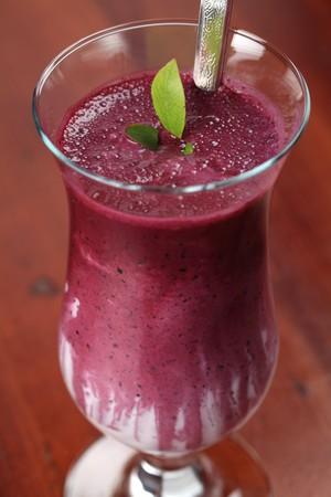 Blueberry milk shake with sour cream  photo