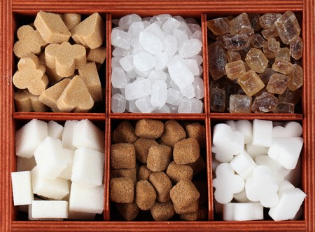 sugar: VSugar collection - various kinds of sugar cubes in a box. Shallow dof