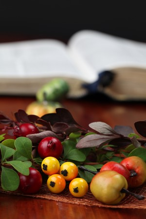 Autumn arrangement and the Bible in background. Shallow dof photo