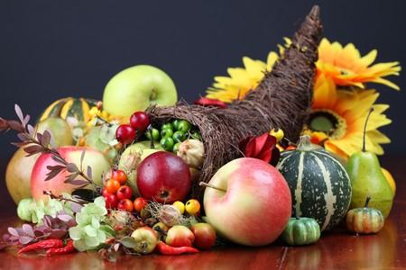 thanksgiving cornucopia: Autumn cornucopia - symbol of food and abundance Stock Photo