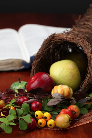 Thanksgiving arrangement with cornucopia and the Bible in background Stock Photo - 7778177