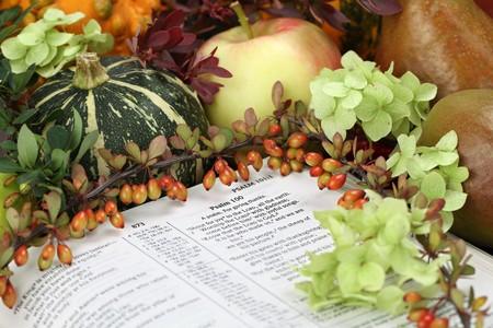 salmo: Disposizione di ringraziamento con la Bibbia aperta al Salmo 100 Archivio Fotografico