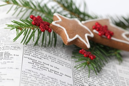 Christmas message. Open Bible on the text from Lucas 2: angels announcing Jesus' birth Stock Photo - 7897685