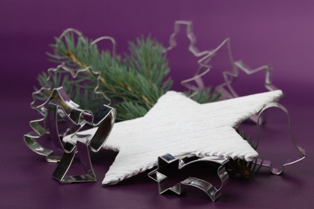 Various shaped cookie cutters on Christmas background Stock Photo - 7897667