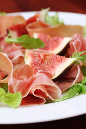 Prosciutto and fig salad Stock Photo