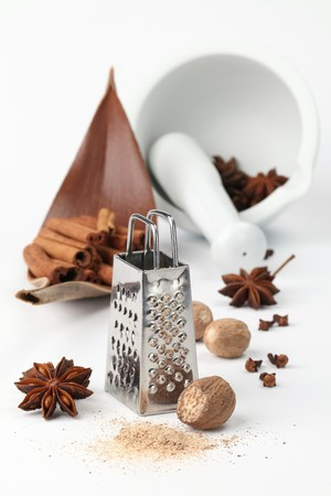 Nutmegs, cloves, anise and cinnamon with grater and mortar on white background. Shallow dof photo