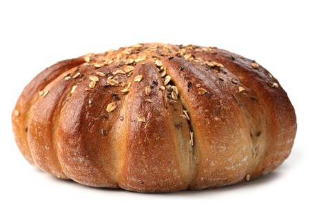breadloaf: Loaf of wholemeal bread isolated on white background. Shallow dof Stock Photo