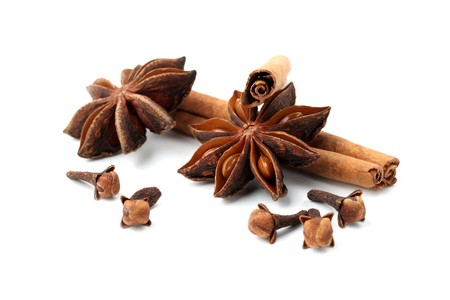 Cloves, anise and cinnamon isolated on white background. Shallow dof