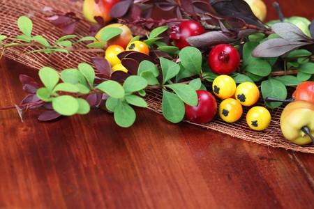 autumn arrangement: Autumn arrangement on a wooden table. Shallow dof Stock Photo