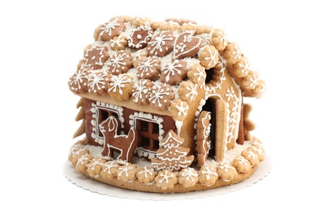 gingerbread house: Christmas gingerbread house isolated on white background. Shallow dof Stock Photo
