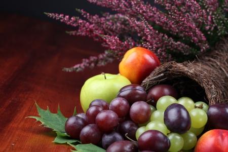 erntekorb: F�llhorn, Symbol von Lebensmitteln und F�lle, mit verschiedenen Fr�chten